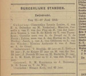 3 juli 1918 Dordtsche Courant