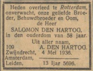 overlijdens advertentie Salomon den Hartog