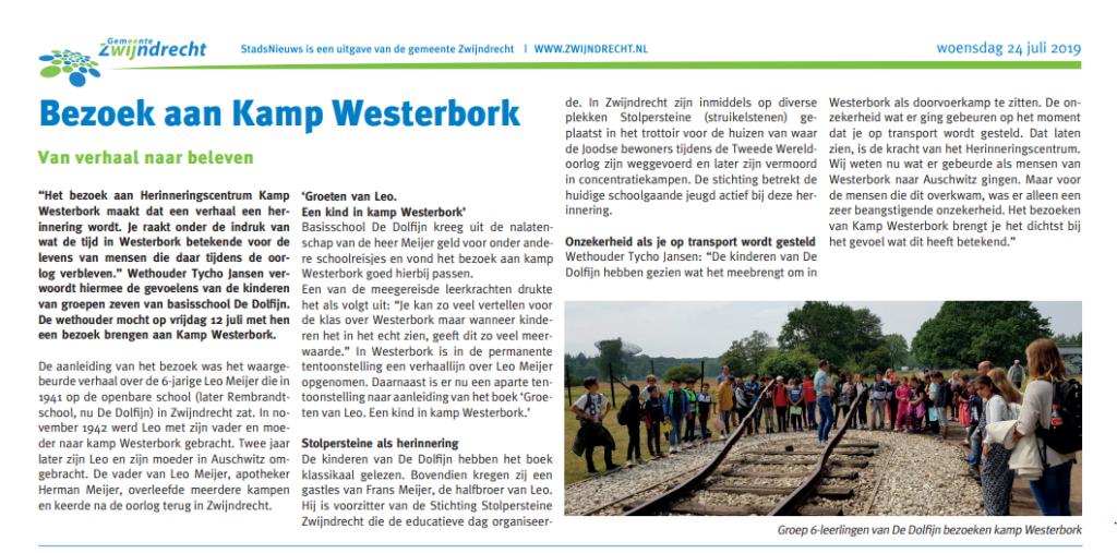 Stadsnieuws 24 juli 2019 Bezoek Westerbork de Dolfijn